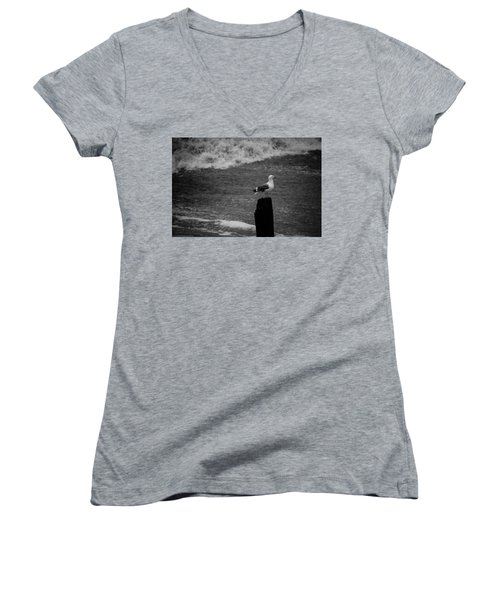 Women's V-Neck T-Shirt featuring the photograph At His Post by Lora Lee Chapman