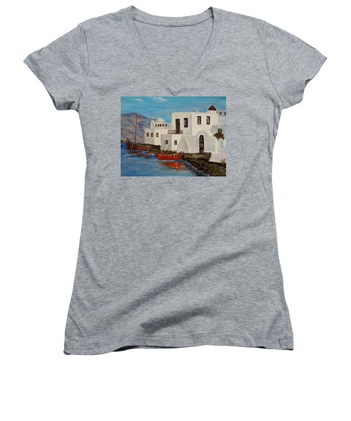 Women's V-Neck T-Shirt (Junior Cut) featuring the painting At Home In Greece by Marilyn  McNish