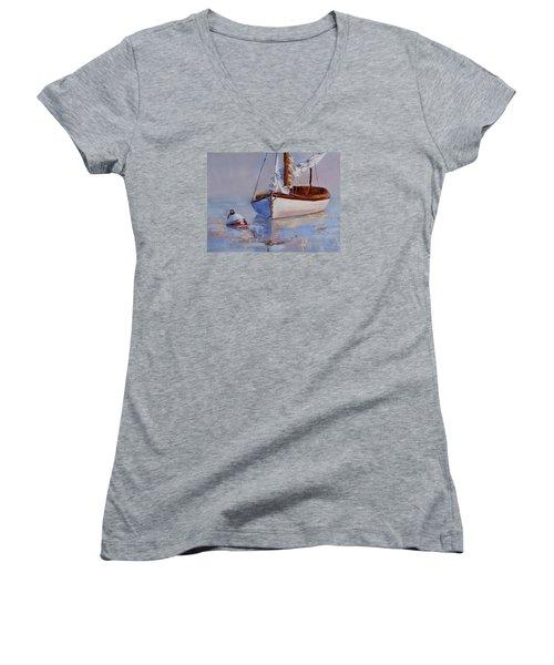 At Rest Women's V-Neck T-Shirt (Junior Cut) by Trina Teele
