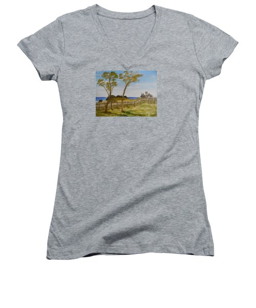 At Ruby's Bulli Women's V-Neck T-Shirt (Junior Cut) by Pamela  Meredith