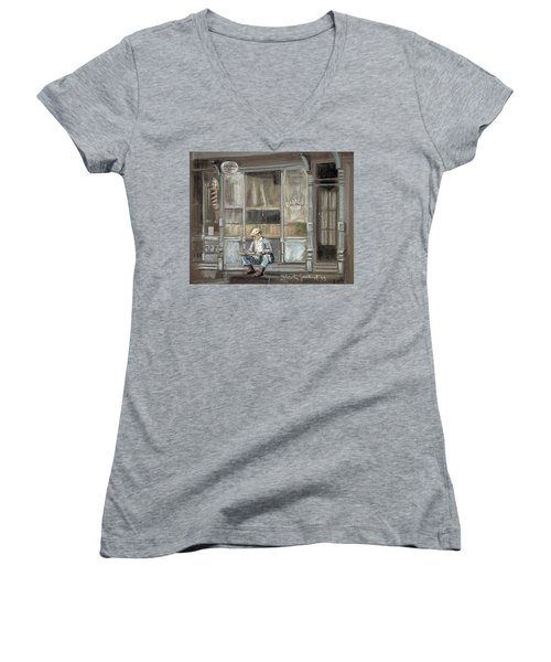 At The Barber Shop Women's V-Neck T-Shirt (Junior Cut) by Marty Garland
