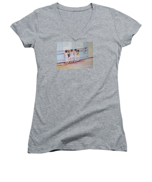 At The Barre Women's V-Neck T-Shirt (Junior Cut) by Julie Todd-Cundiff