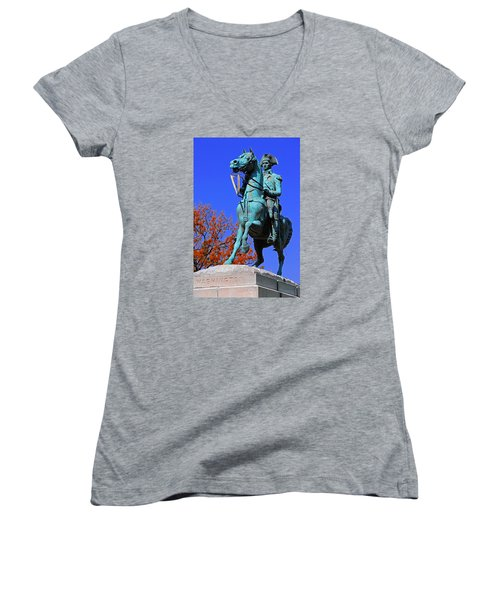 At The Battle Of Princeton Women's V-Neck T-Shirt (Junior Cut) by Iryna Goodall