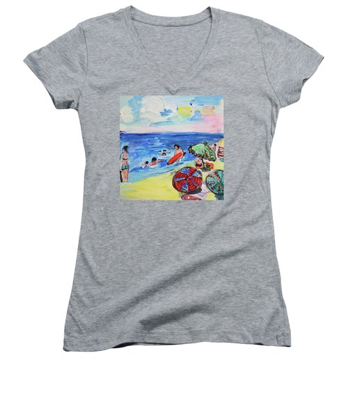 At The Beach Women's V-Neck T-Shirt (Junior Cut) by Amara Dacer