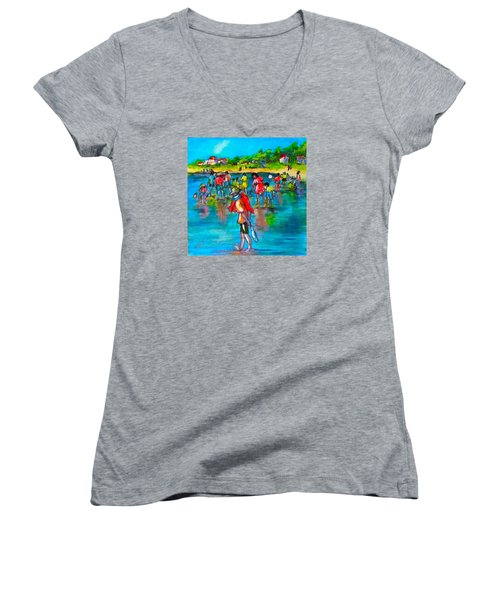 At The Beach Women's V-Neck T-Shirt (Junior Cut) by Barbara O'Toole