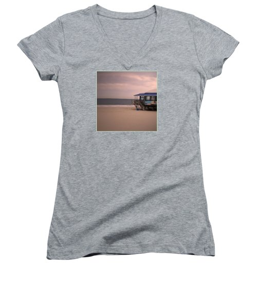 Women's V-Neck T-Shirt (Junior Cut) featuring the photograph At The Beach by Desline Vitto