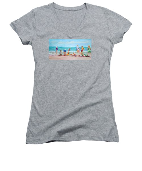 At The Beach Women's V-Neck T-Shirt (Junior Cut) by Patricia Piffath
