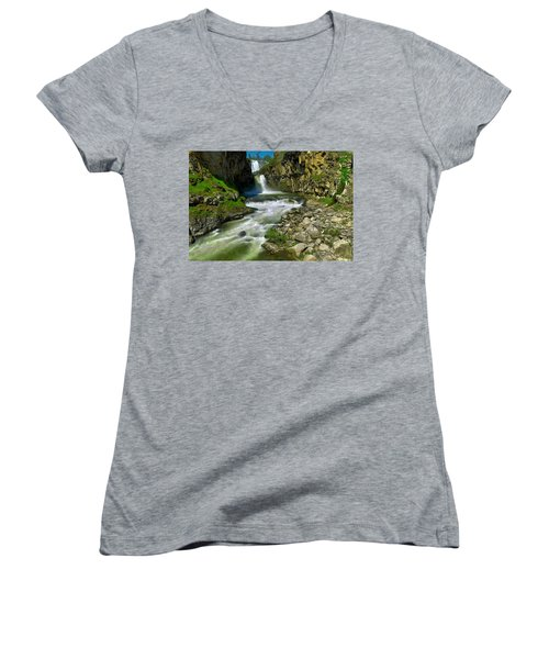 At The Bottom Of White River Falls Women's V-Neck (Athletic Fit)