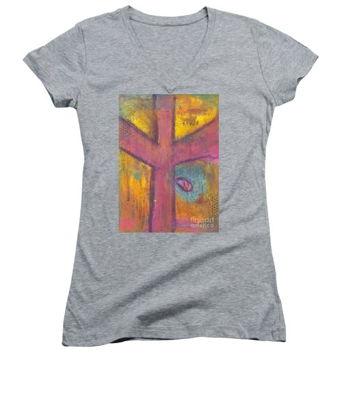 Women's V-Neck T-Shirt (Junior Cut) featuring the mixed media At The Cross by Angela L Walker