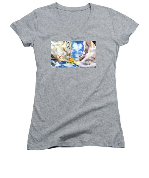 At The Feet Of Jesus Women's V-Neck T-Shirt (Junior Cut) by Dolores Develde