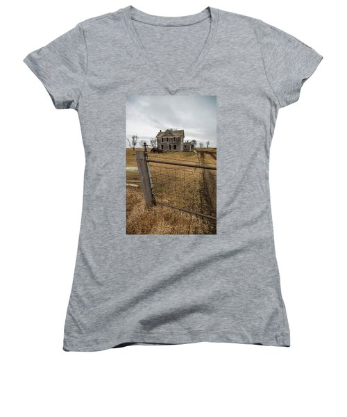 Women's V-Neck T-Shirt (Junior Cut) featuring the photograph At The Gate  by Aaron J Groen