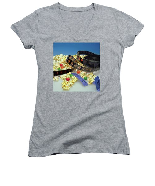 At The Movies  Women's V-Neck T-Shirt (Junior Cut) by Marie Hicks
