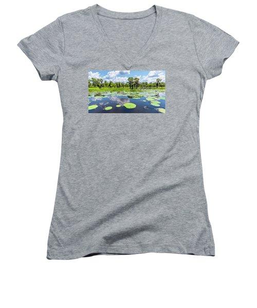 Atchaflaya Basin Reflection Pool Women's V-Neck T-Shirt (Junior Cut) by Andy Crawford