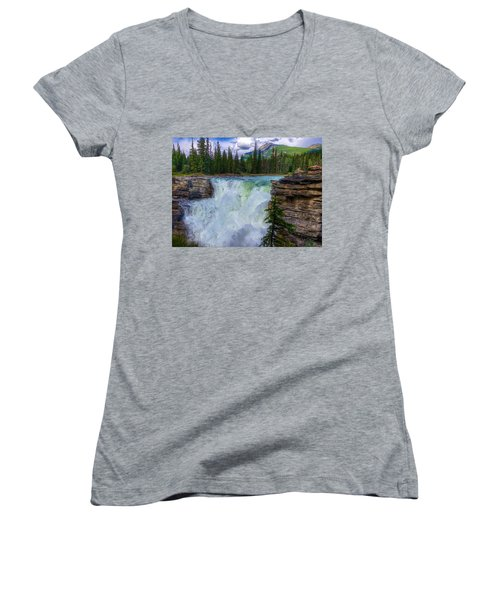 Athabasca Falls, Ab  Women's V-Neck T-Shirt (Junior Cut) by Heather Vopni