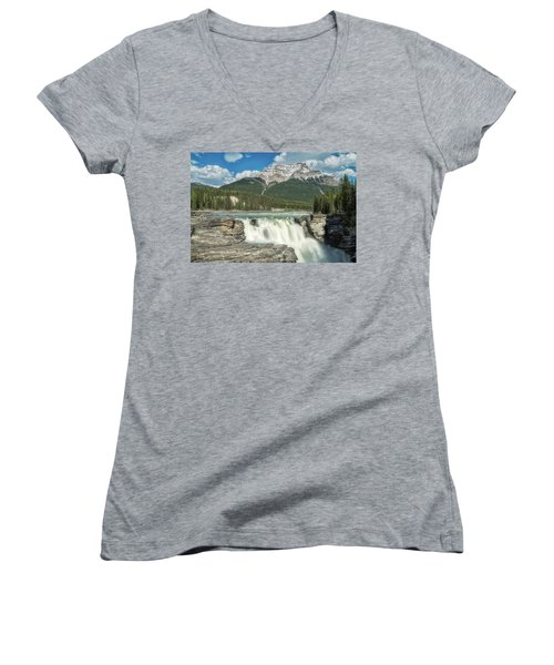 Athabasca Falls Women's V-Neck (Athletic Fit)