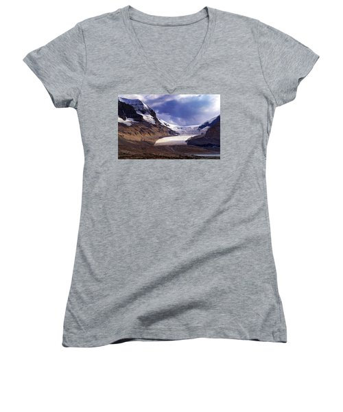 Athabasca Glacier Women's V-Neck T-Shirt (Junior Cut) by Heather Vopni