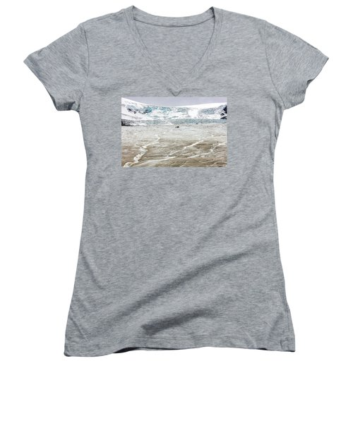 Women's V-Neck T-Shirt (Junior Cut) featuring the photograph Athabasca Glacier With Guided Expedition by Pierre Leclerc Photography