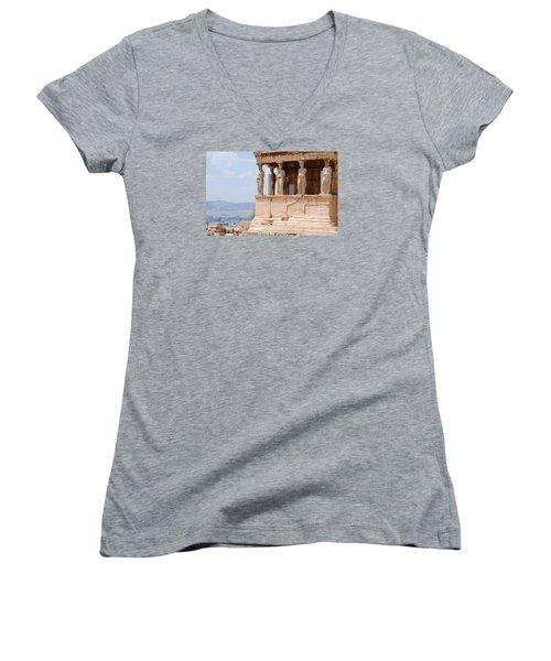 Women's V-Neck T-Shirt (Junior Cut) featuring the photograph Erecthion by Robert Moss