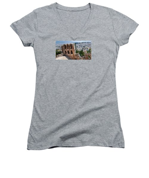 Women's V-Neck T-Shirt (Junior Cut) featuring the photograph Athens From Acropolis II by Robert Moss