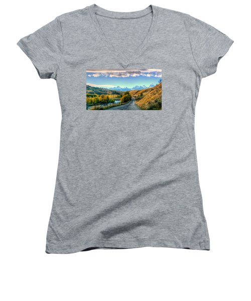 Atherton View Of Tetons Women's V-Neck T-Shirt (Junior Cut) by Charlotte Schafer