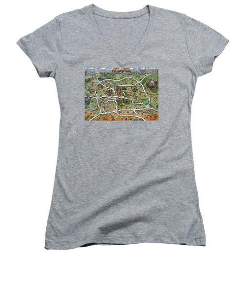 Women's V-Neck T-Shirt (Junior Cut) featuring the painting Atlanta Cartoon Map by Kevin Middleton
