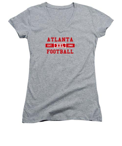 Atlanta Falcons Retro Shirt 2 Women's V-Neck T-Shirt (Junior Cut) by Joe Hamilton
