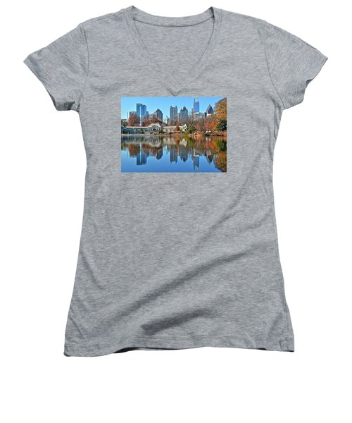 Atlanta Reflected Women's V-Neck T-Shirt (Junior Cut) by Frozen in Time Fine Art Photography