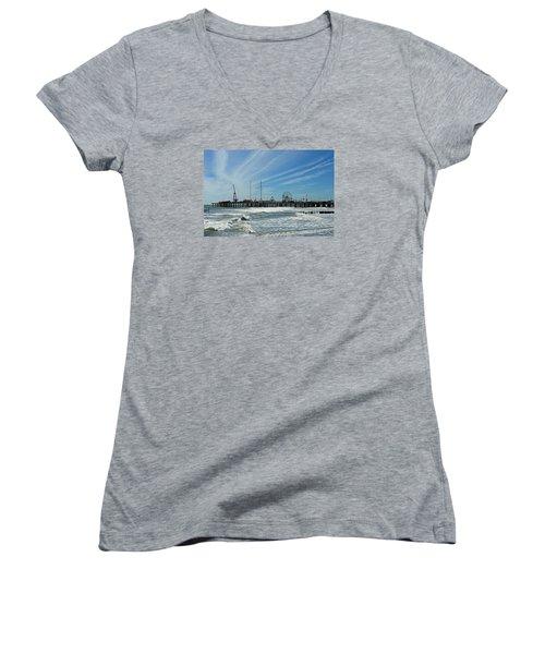 Atlantic City, New Jersey Women's V-Neck T-Shirt (Junior Cut) by Allen Beilschmidt