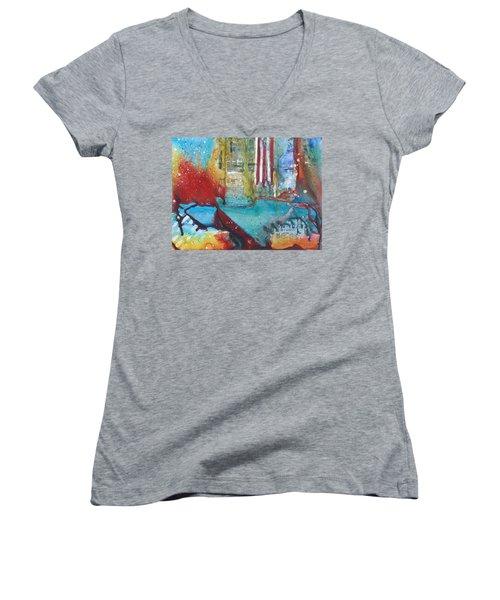 Atlantis Crashing Into The Sea Women's V-Neck T-Shirt (Junior Cut) by Ruth Kamenev