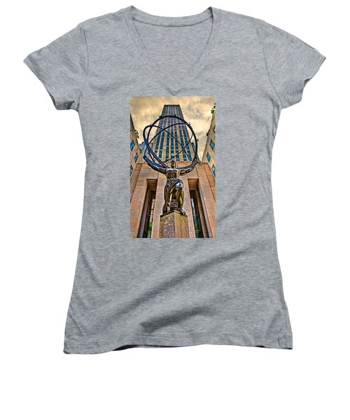 Atlas At The Rock Women's V-Neck T-Shirt