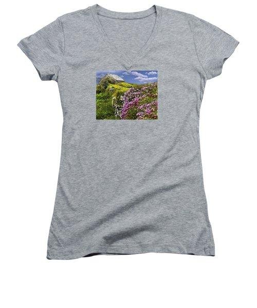 Atop A Crag Women's V-Neck T-Shirt