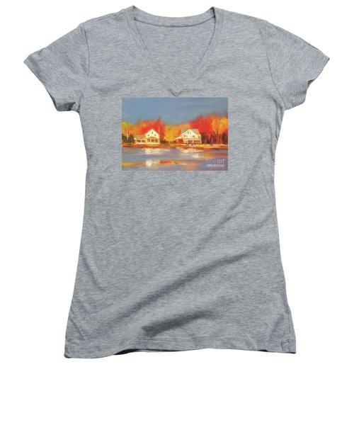 Atsion Lake Women's V-Neck T-Shirt (Junior Cut) by Mary Hubley