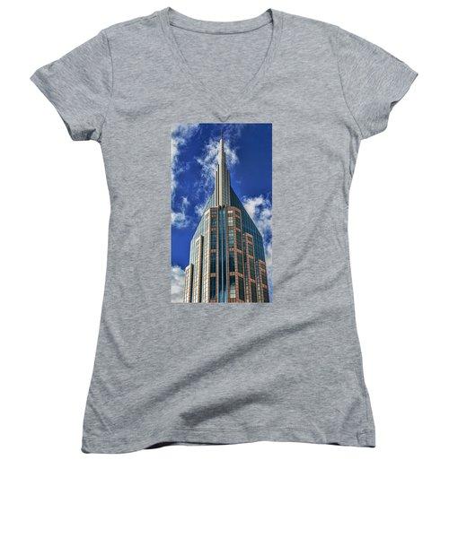 Women's V-Neck T-Shirt (Junior Cut) featuring the photograph Att Nashville by Stephen Stookey