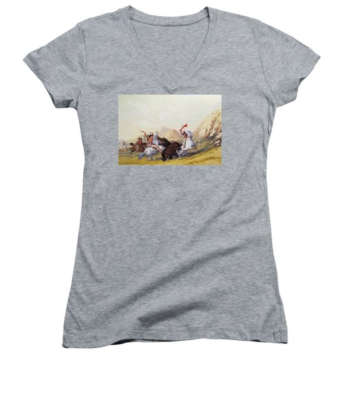 Attacking The Grizzly Bear 1844 Women's V-Neck (Athletic Fit)