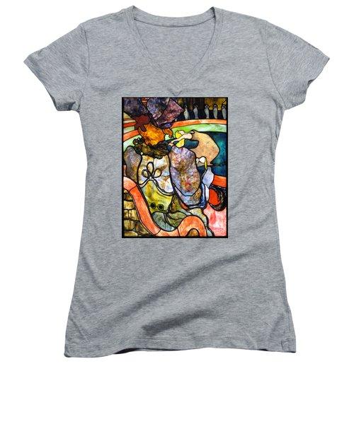 Au Nouveau Cirque Women's V-Neck T-Shirt (Junior Cut) by Pg Reproductions