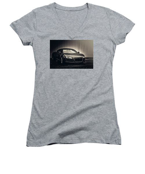 Women's V-Neck T-Shirt featuring the photograph Audi R8 by Joel Witmeyer