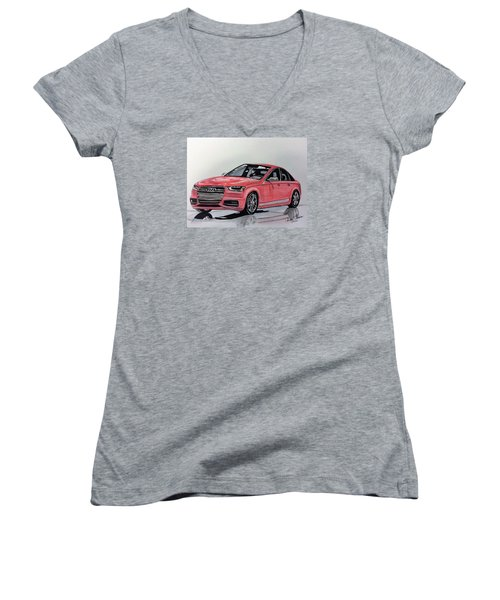 Audi S4 Women's V-Neck T-Shirt (Junior Cut) by Kevin F Heuman