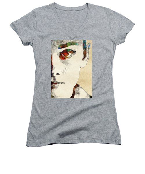 Audrey Half Face Portrait Women's V-Neck T-Shirt (Junior Cut) by Mihaela Pater