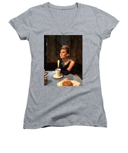 Audrey Hepburn Women's V-Neck T-Shirt (Junior Cut) by Kay Gilley