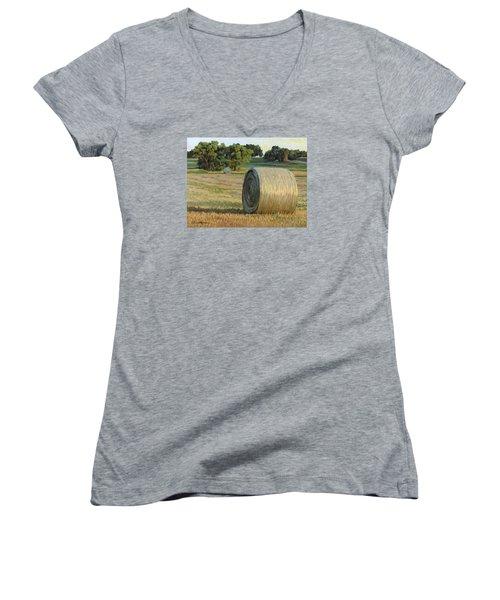 August Bales Women's V-Neck T-Shirt (Junior Cut) by Bruce Morrison