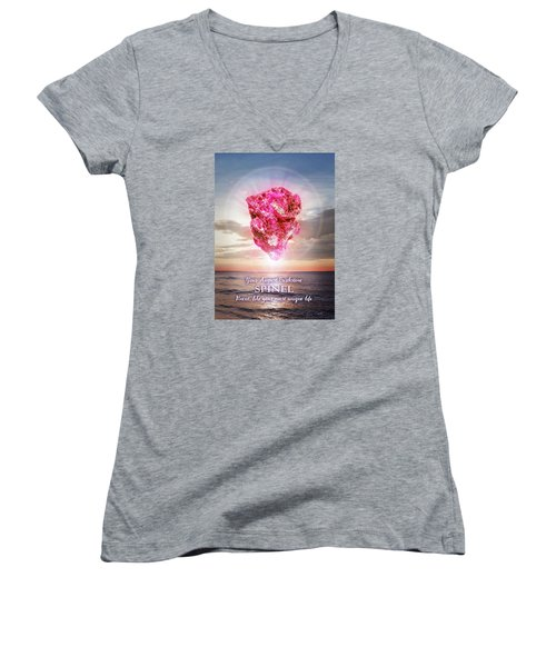 August Birthstone Spinel Women's V-Neck T-Shirt (Junior Cut)
