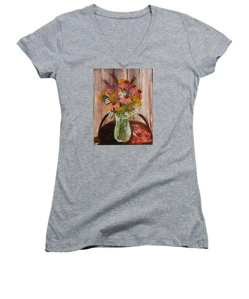 August Flowers Women's V-Neck T-Shirt