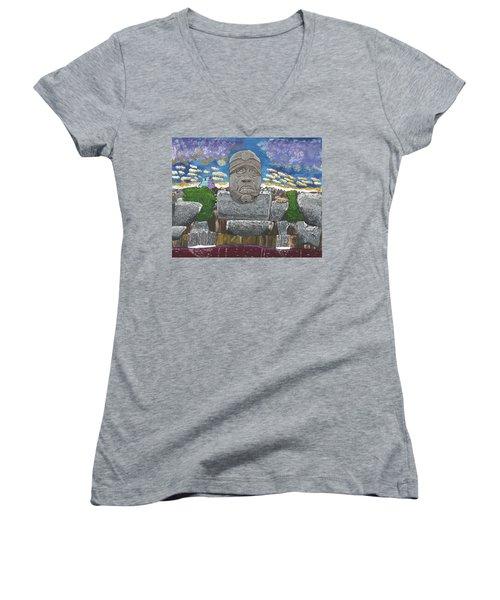 August  Olmec Head Women's V-Neck T-Shirt