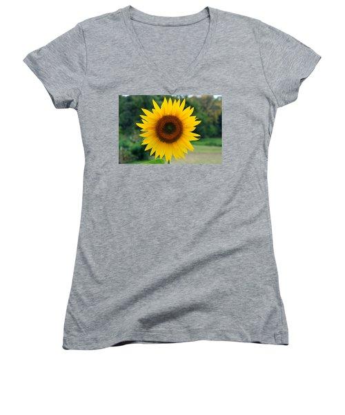Women's V-Neck T-Shirt (Junior Cut) featuring the photograph August Sunflower by Jeff Severson