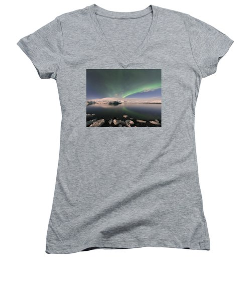 Women's V-Neck T-Shirt (Junior Cut) featuring the photograph Aurora Borealis And Reflection by Wanda Krack