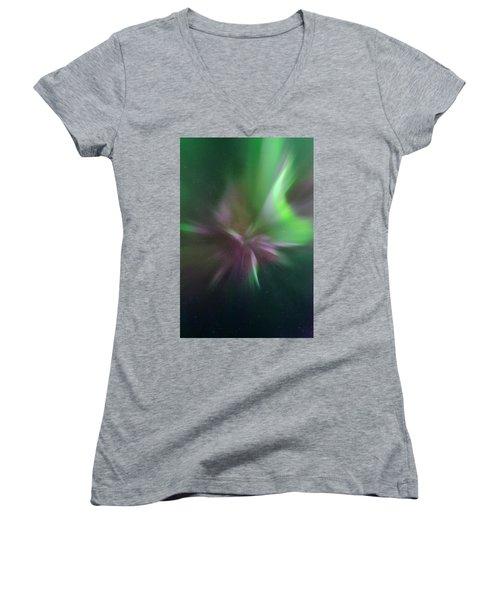 Aurora Borealis Corona Women's V-Neck T-Shirt
