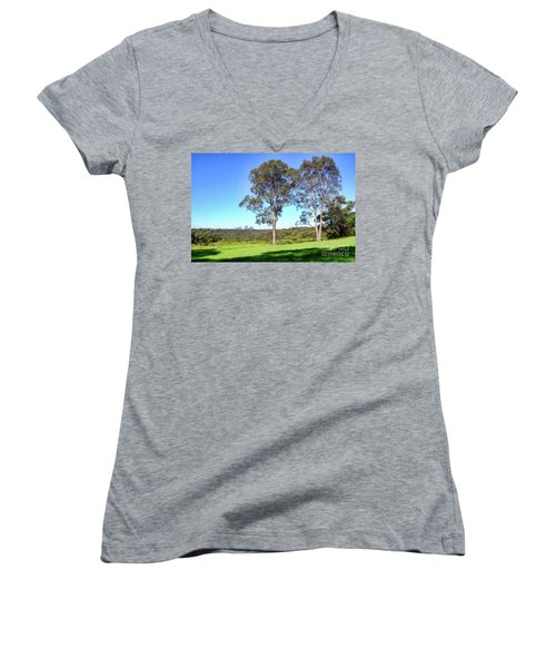 Women's V-Neck T-Shirt (Junior Cut) featuring the photograph Aussie Gum Tree Landscape By Kaye Menner by Kaye Menner