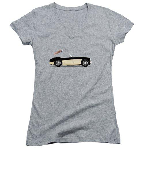 Austin Healey 3000 Women's V-Neck T-Shirt (Junior Cut) by Mark Rogan