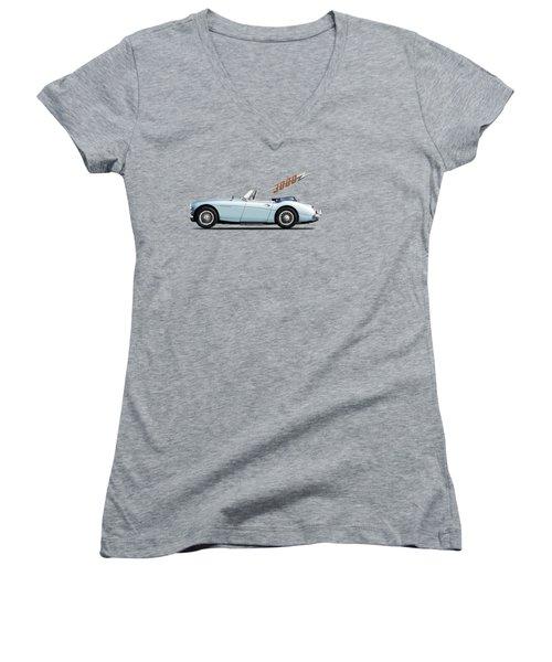Austin Healey 3000 Mk3 Women's V-Neck T-Shirt (Junior Cut) by Mark Rogan