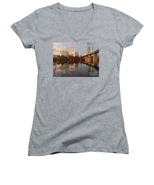 Austin Hike And Bike Trail - Train Trestle 1 Sunset Triptych Left Women's V-Neck T-Shirt (Junior Cut) by Felipe Adan Lerma